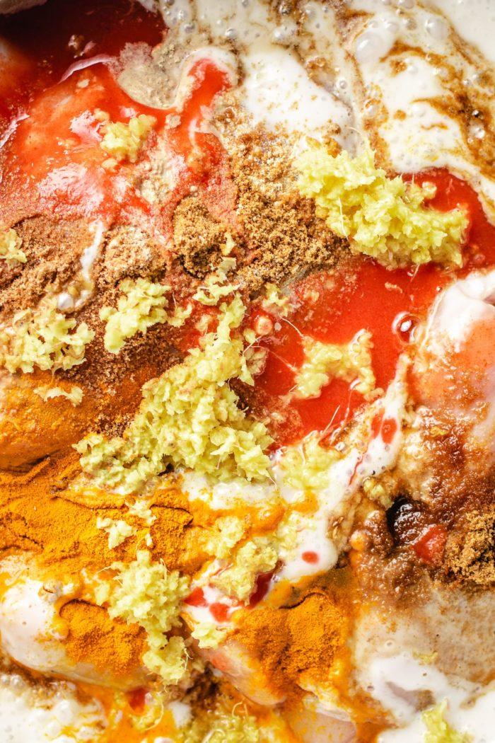Chicken satay marinade before mixing