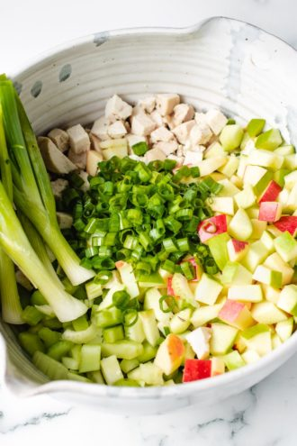 A large mixing bowl with chopped apples, celery, cooked chicken