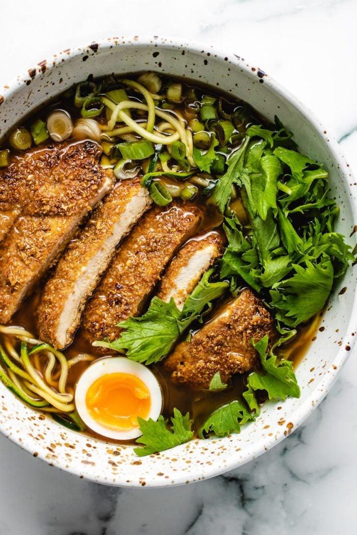 An overhead shot of the chicken ramen noodle bowl