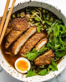 Keto Chicken Katsu with Ramen in a bowl