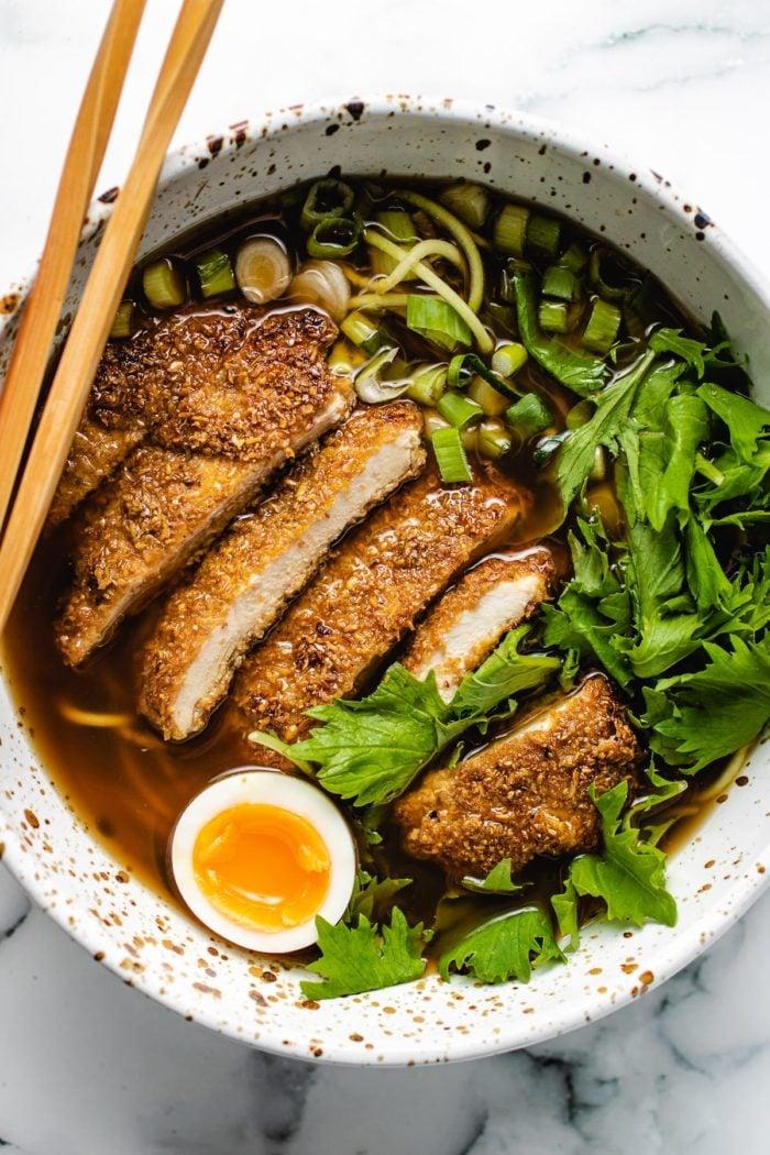 Keto Chicken Katsu with Ramen in a bowl