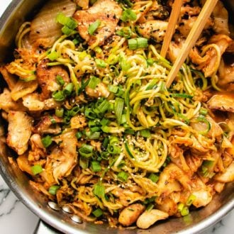 Kimchi and Chicken Stir-Fry with Zucchini Noodles in a big skillet