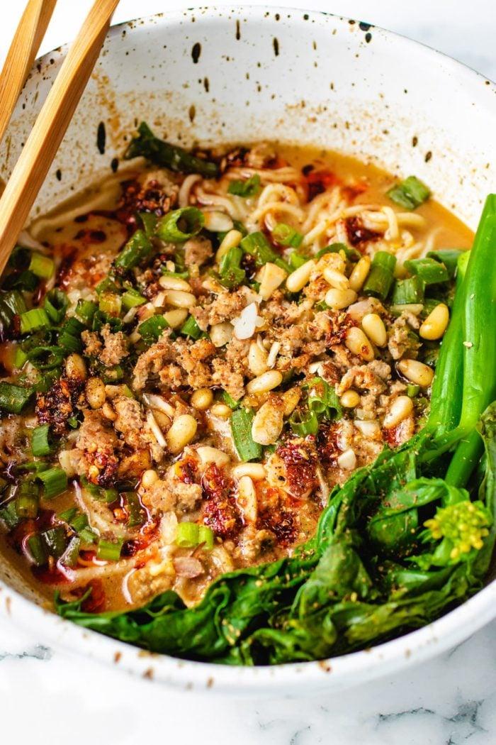 A side photo show case the noodle dish