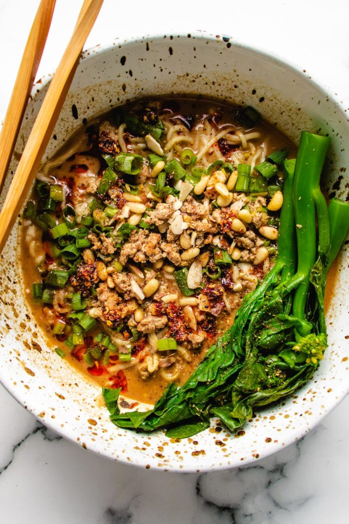 another photo shows the noodle dandan main in a bowl
