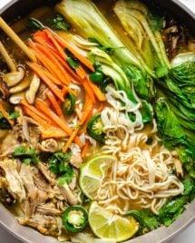 A close shot shows the chicken noodle soup dish