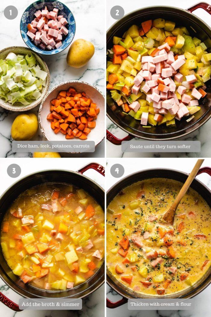 Steps on how to make potato ham soup