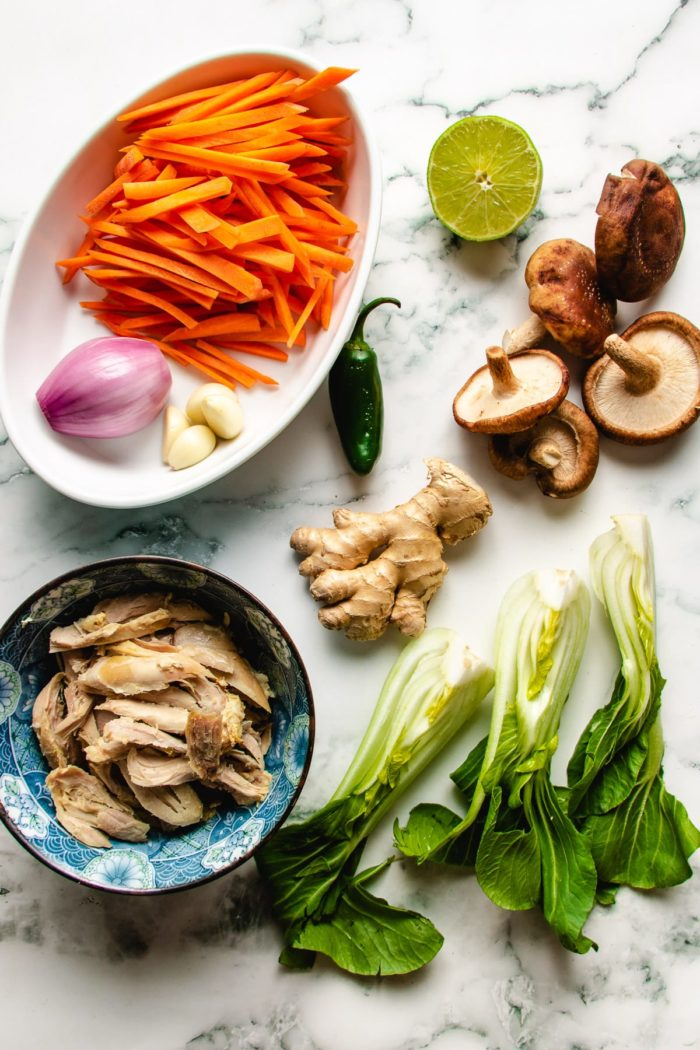 Ingredients for Asian chicken and noodle soup