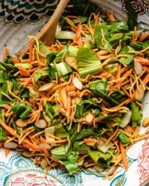 Feature image shows the salad chopped with crispy noodles