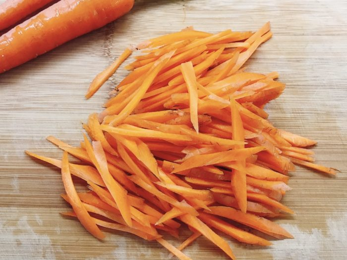 step 2- Julienne the carrots