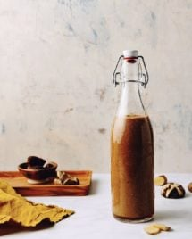 Homemade vegetarian oyster sauce store in a glass bottle