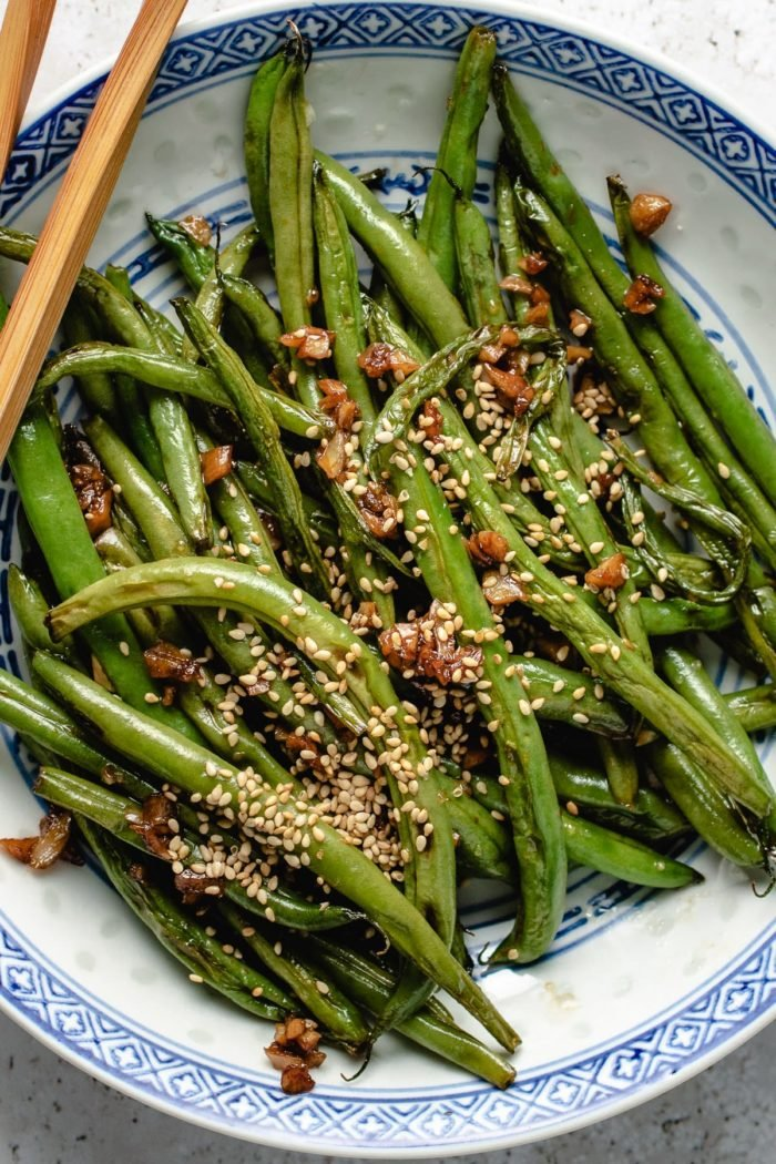 Sauteed garlicky green beans with sesame recipe
