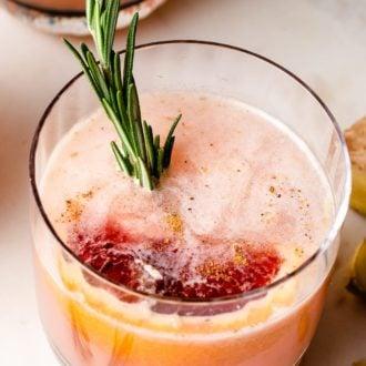 Sake grapefruit cocktail served in a glass