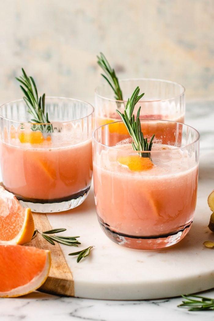 Serve the sake grapefruit cocktail chilled in 3 glasses