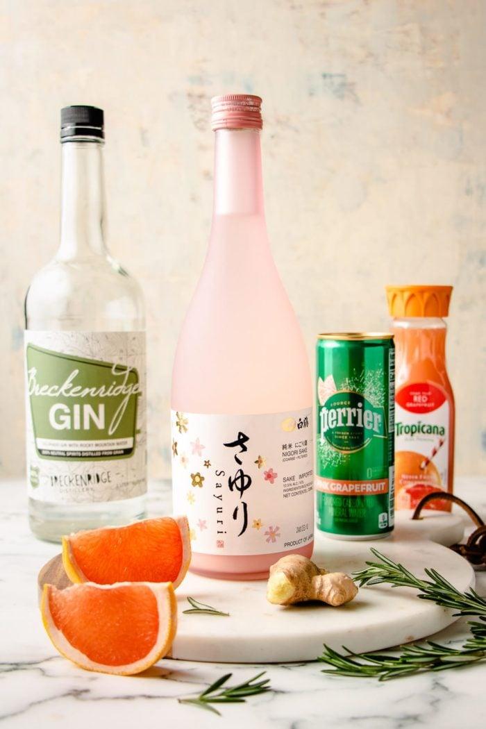 Ingredients to make the sake cocktail