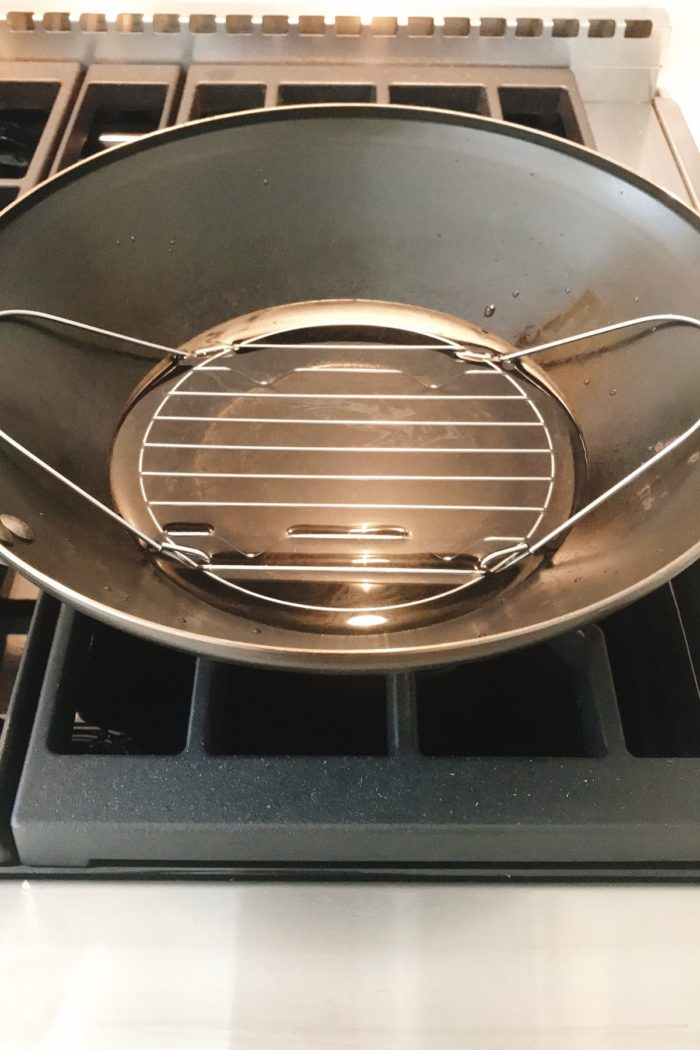 Bring water to boil with a rack over for dim sum