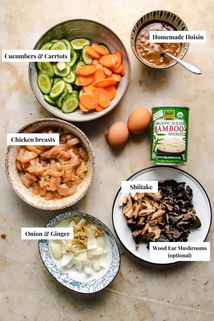 Ingredients prepared in advance to make mu shu chicken