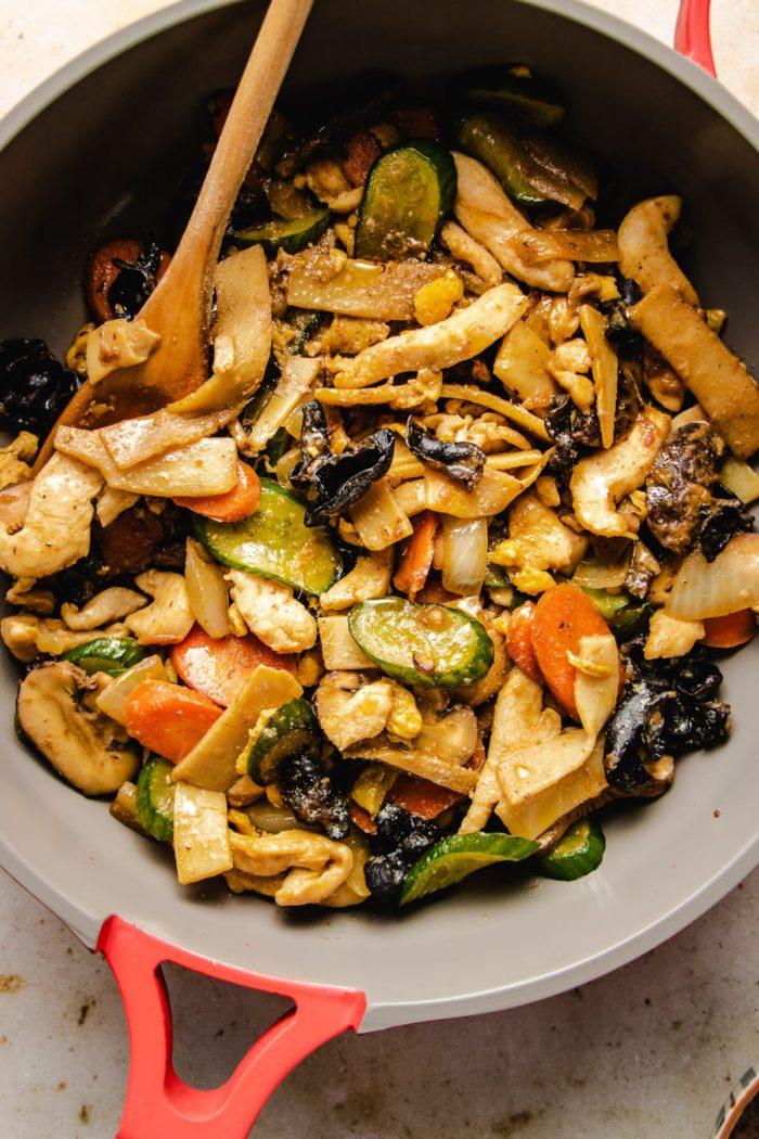 Stir fry mu shu in a big saute pan