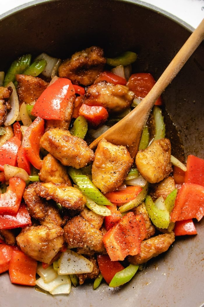 Stir fry the dish in a saute wok pan