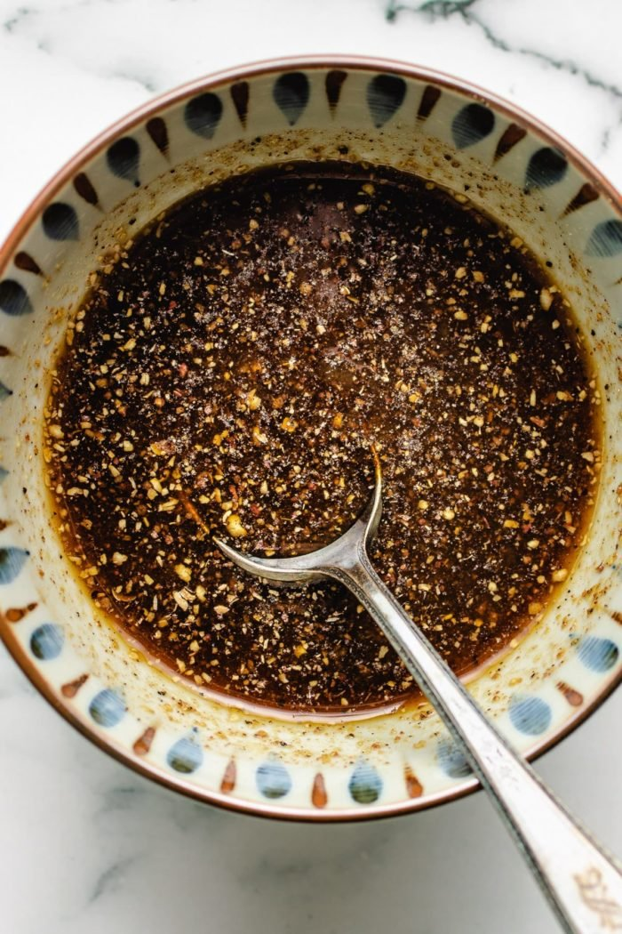 Black pepper sauce in a bowl