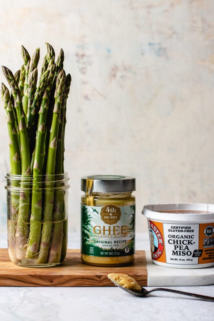 Asparagus, ghee, and chickpea miso ingredients