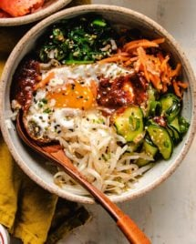 Korean bibimbap vegetarian version served in a bowl