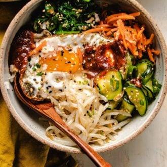 Korean bibimbap vegetarian version served in a bowl