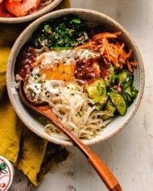 Vegetarian Bibimbap Recipe served in a bowl