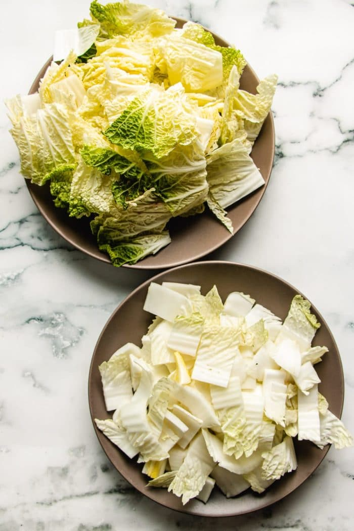Diced napa cabbage separate stems and leaves