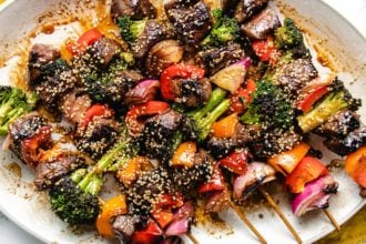 A horizontal image shows the grilled kebabs