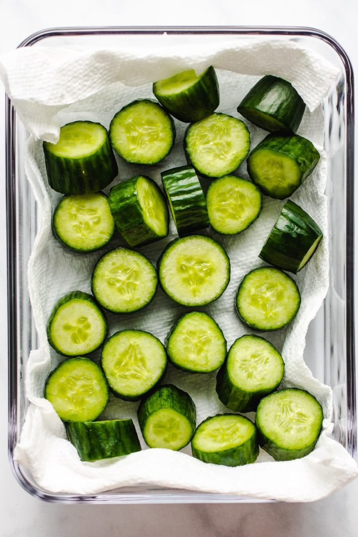 Pat dry the cucumbers after rinsed