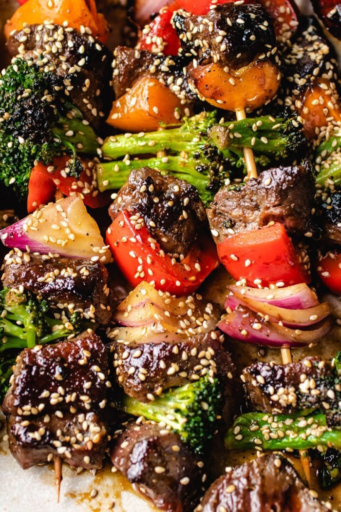 A close shot shows the grilled beef with broccoli