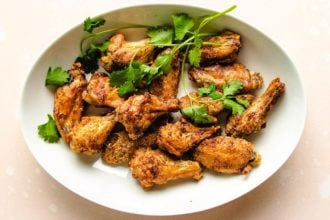 Air fry the wings to golden crispy