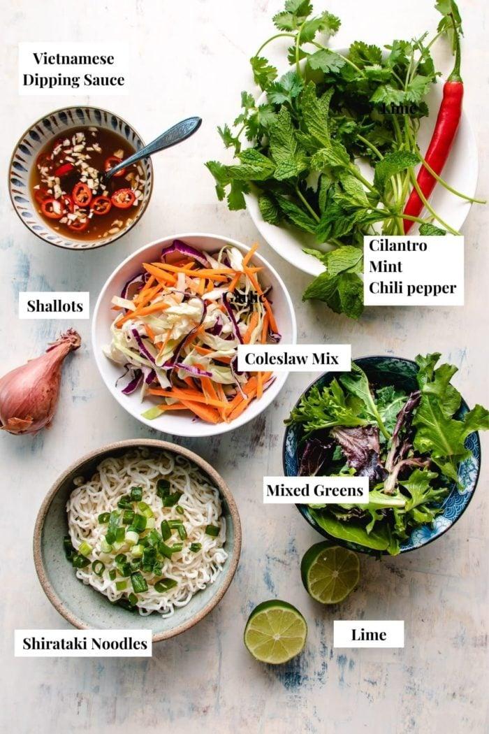 ingredients displayed to make the noodle salad