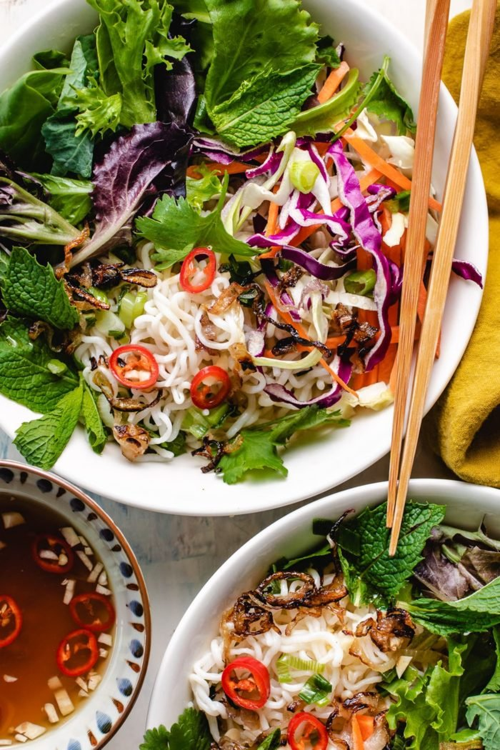 Shirataki noodles with vietnamese dipping sauce plated on two white bowls