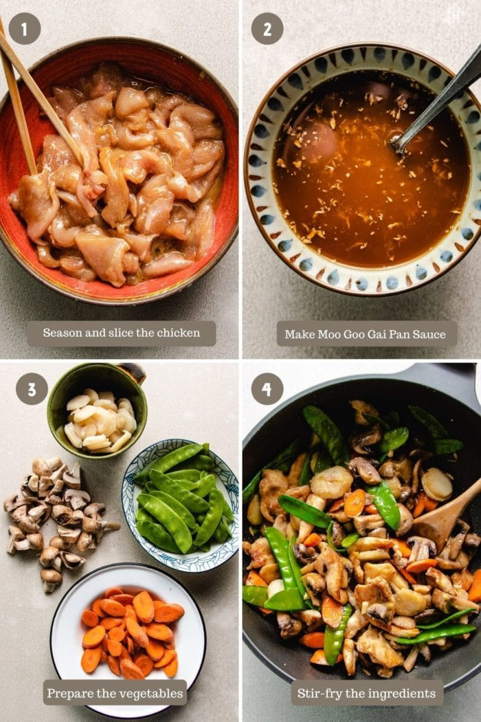 A step-by-step photo to show how to make the chicken mushroom stir-fry dish