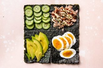 Step 1. lay out the foods into 4 squares