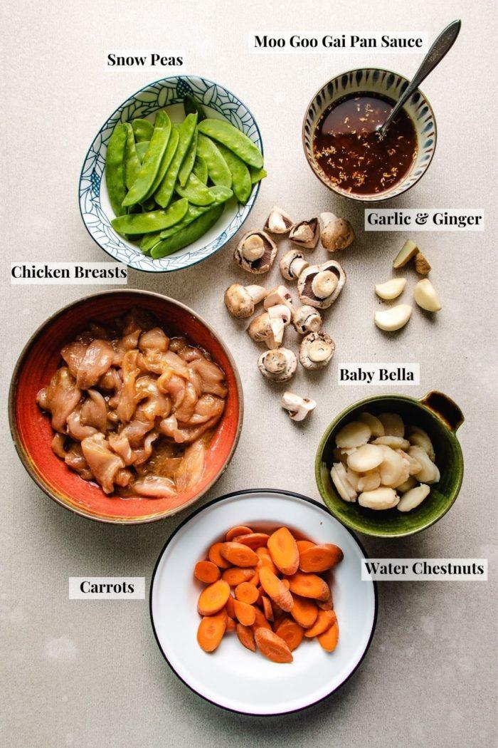 Photo shows ingredients and sauce to make the moo goo recipe gai pan.