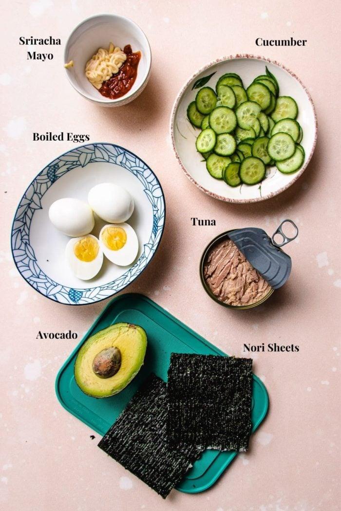 Ingredients to make sushi wraps
