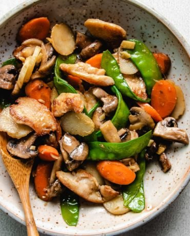 A plate with chicken breast stir-fry with mushrooms and vegetables