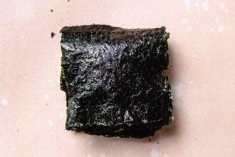 Step 4. Finished nori sushi wraps in one square shape