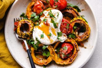 This is a horizontal image of the roast squash and tomato dish